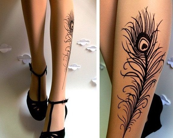 n e w sexy peacock feather tattoo gorgeous knee high socks