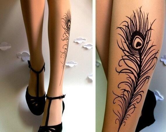 N E W sexy PEACOCK FEATHER TATTOO gorgeous knee-high socks LIGHT MOCHA