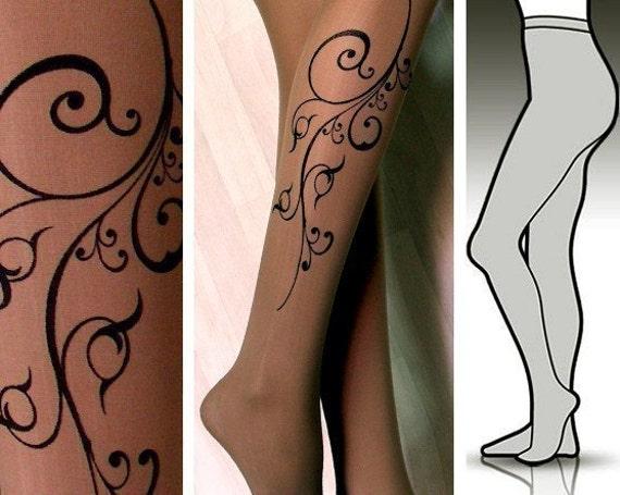s/m sexy FLORA tattoo tights / stockings / full length / pantyhose / nylons DEEP MOCHA