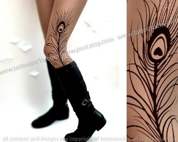 sexy MINI and BOOTS peacock FEATHER tattoo tattoo thigh-high nylons deep mocha