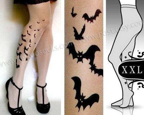 plus size XXL sexy BATS tattoo tights / stockings/ full length / pantyhose / nylons UltraPALE