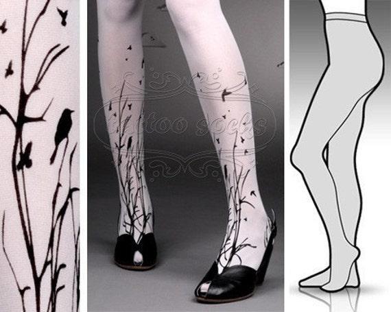 Large/Extra Large fabulous FOREST SYMPHONY tattoo stockings / full length / pantyhose / nylons WHITE