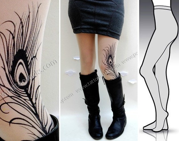 Small/Medium gorgeous MINI and BOOTS peacock FEATHER tattoo tights / stockings/ full length / pantyhose / nylons Ultra Pale