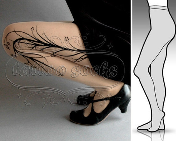 new: Small / Medium sexy Long Branches tattoo tights / stockings/ full length / pantyhose / nylons LIGHT MOCHA