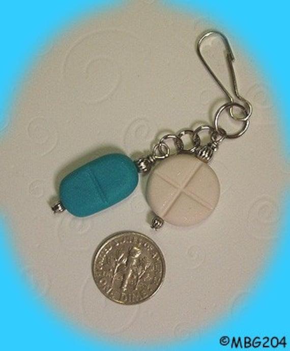 PILL Zipper Pull - Handmade Charm from My Bead Garden