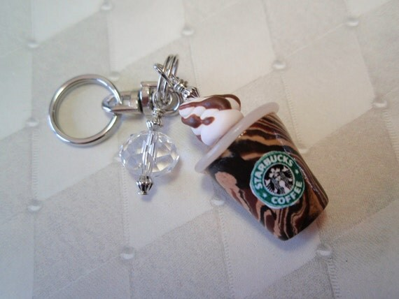 Frosty Icy Starbucks COFFEE Drink Mini Key Ring - Handmade from My Bead Garden