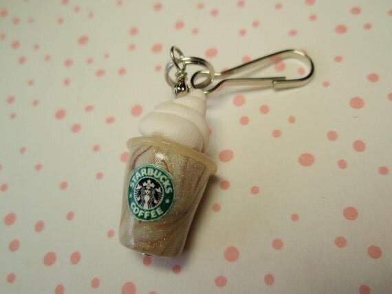 Yummy Frosty Icy COFFEE Drink Zipper Pull - Handmade Charm from My Bead Garden