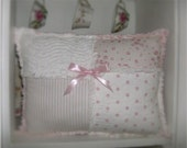 Cottage Shabby Pink Roses Rag Patch Pillow Vintage Chic