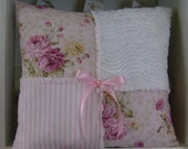 Cottage Shabby ROSES PINK RAG PATCH PILLOW Chic