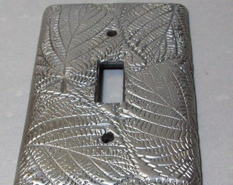 Silver Leaves single toggle light switch cover