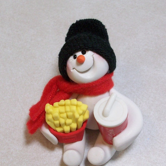 I can share my fries with you. Snowman ornament