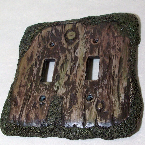 Bark of a tree light switch cover