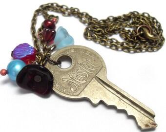 Berry and Aqua Vintage Key Necklace