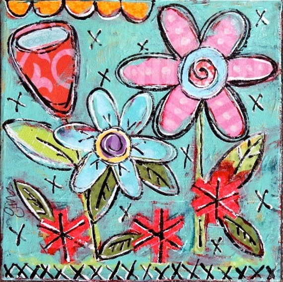 Sweet Little Mixed Media Folk Art Floral Painting