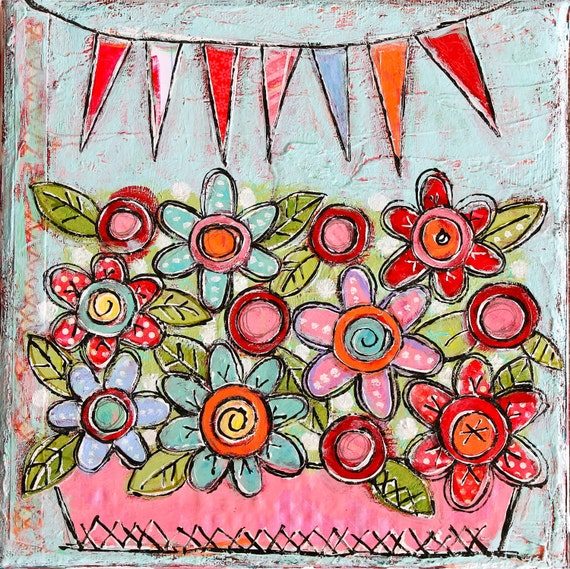 PAINTING SALE Bright Little Mixed Media Folk Art Floral Garden Painting