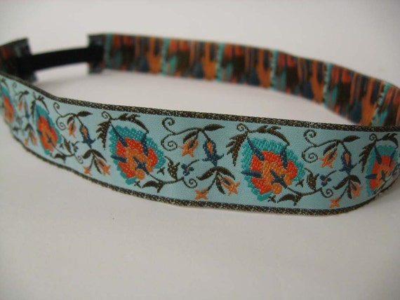 Ribbon Headband in Turquoise Palmette