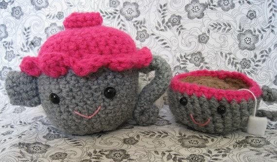 Amigurumi Crochet Teapot Pattern : Items similar to Tea Set Amigurumi Crochet PATTERN. Teapot ...