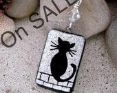 On SALE Hand Etched CAT Dichroic Glass Mini-Pendant, Swarovski Dangle Pendant includes Chain Necklace