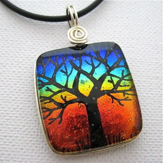 Dichroic Glass Pendant Sterling Silver Wrapped  Tree of Life Hand-Etched  OUTBACK SUNSET