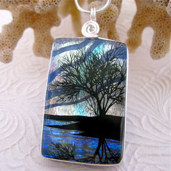 Hand Etched Tree Reflection Dichroic Glass Pendant & Necklace