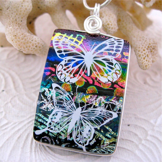 Butterflies Dichroic Glass Pendant Pretty Multilayer includes Necklace