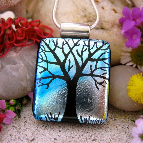FOR JULIE-ANN Tree of Life Dichroic Glass Pendant -  Hand-Etched Silver Turquoise includes Necklace