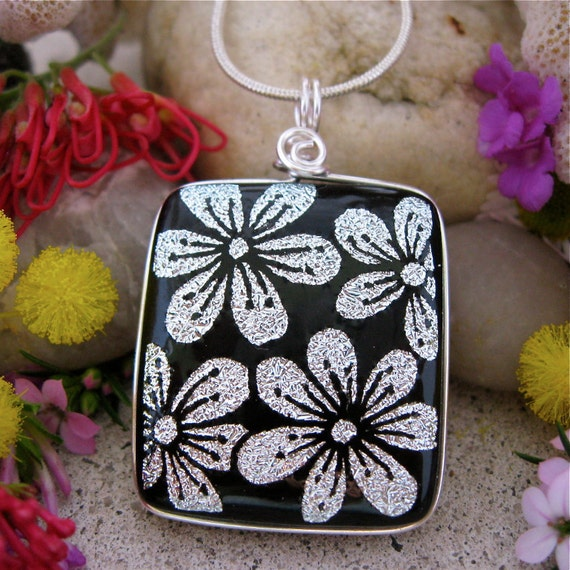 Dichroic Pendant - Dichroic Fused Glass Hand Etched Silver Flowers