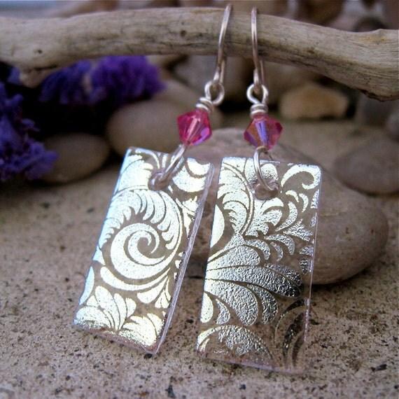 Swirls Dichroic Earrings Handmade STERLING SILVER Hooks Fused Dichroic Glass