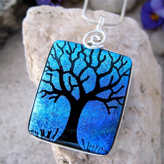 Dichroic Pendant, Tree Hand Etched Dichroic Fused Glass , Turquoise Purple