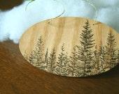 wood ornament - pine tree