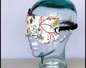 CLEARANCE SALE 45% OFF Sleep Mask - Floral Swirls in Red Black Brown Cream - Madison a Sleepy Kitty Mask