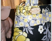 Avery A OOAK Boutique Bag, Floral Yellow Black and Grey Handbag, Purse, Small Tote