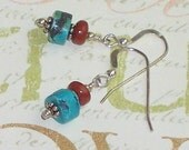Turquoise Earrings with Red Jasper, Turquoise Dangle Earrings, Turquoise and Red Jasper Dangle Earrings
