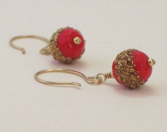 Sugar Glass Bead Earrings Vintage Red and 24kt Gold