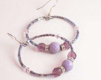 Purple Haze Beaded Hoop Earrings, Purple Hoop Earrings, Boho Earrings, Gypsy Earrings, Purple Beaded Hoop Earrings