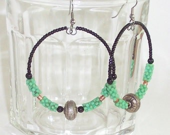 African Beaded Hoop Earrings, Antique African Flower Bead Hoop Earrings, Beaded Hoop Earrings