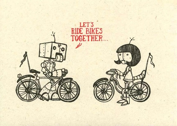 Super cute Bicycle Robots - LET'S RIDE BIKES - Gocco Print. Robot, Droid, bot, bike