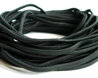 100 skinny, stretchy elastic headbands - wholesale lot - BLACK - no metal
