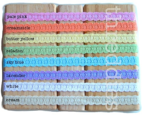 threddies skinny STRETCH LACE headband sampler - frilly and scallop edge - 6 of each