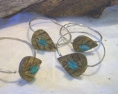 Napkin Rings - Coconut Button, Beach Glass Bead and Wire