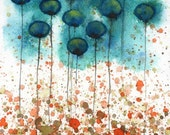 Watercolor Painting: Watercolor Flower Painting -- Art Print --  Tide Pool -- Teal Flowers -- 8x10