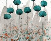 Watercolor Painting: Watercolor Flower Painting - Art Print - Mister Muscle - Teal Watercolor Flowers - 11x14