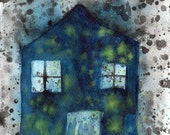 Watercolor Painting: Watercolor Illustration -- Art Print --  Dream House -- 8x10