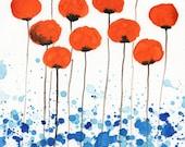 Watercolor Painting: Watercolor Flower Painting -- Art Print --  Just Around the Corner -- Orange Flowers -- 8x10