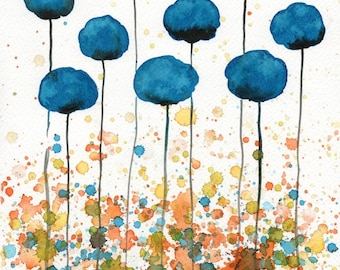 Watercolor Painting: Watercolor Flower Painting -- Art Print --  Over the Horizon -- Teal Flowers -- 8x10