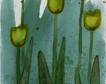 Watercolor Painting: Watercolor Flower Painting -- Mini Art Print -- Yellow Tulips -- ACEO Print