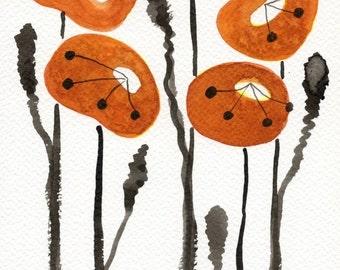 Watercolor Painting: Watercolor Flower Painting -- Art Print --  Orange Poppies -- 5x7
