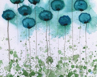 Watercolor Painting: Watercolor Flower Painting -- Art Print --  Object of My Affection -- Teal Flowers -- 11x14