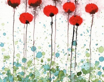 Watercolor Painting: Watercolor Flower Painting -- Art Print --  Red Poppies -- Here Today Gone Tomorrow -- Red Flowers -- 11x14