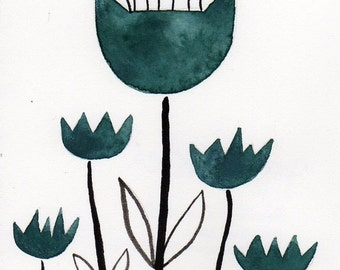 Watercolor Painting: Watercolor Flower Painting -- Art Print --  Scandinavian Tulips in Teal -- 5x7